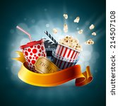 popcorn box  disposable cup for ... | Shutterstock .eps vector #214507108
