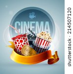 popcorn box  disposable cup for ... | Shutterstock .eps vector #214507120