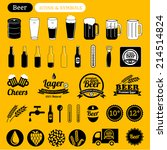 vector beer icons set  signs ... | Shutterstock .eps vector #214514824
