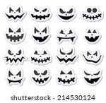 scary halloween pumpkin faces... | Shutterstock .eps vector #214530124