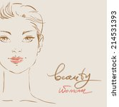 beautiful woman face hand drawn ... | Shutterstock .eps vector #214531393