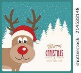 reindeer snowy background | Shutterstock .eps vector #214533148