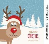 reindeer snowy background   Shutterstock .eps vector #214533163