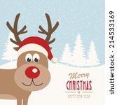 reindeer snowy background   Shutterstock .eps vector #214533169