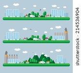 flat design urban landscape... | Shutterstock .eps vector #214536904