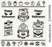 happy halloween set of badges... | Shutterstock .eps vector #214549096