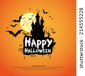 happy halloween card template ... | Shutterstock .eps vector #214555228