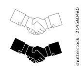 shake hand icon vector black... | Shutterstock .eps vector #214560460