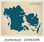 Modern map - Syddanmark DK