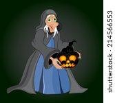 halloween night background with ... | Shutterstock .eps vector #214566553