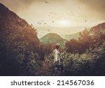 Woman Hiker Walking In A...