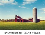 american farmland with blue... | Shutterstock . vector #214574686