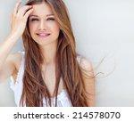 beautiful woman smiling | Shutterstock . vector #214578070