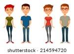 cute cartoon people in casual... | Shutterstock .eps vector #214594720