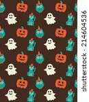 halloween seamless pattern.... | Shutterstock .eps vector #214604536