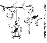 the bird in the cage. vector... | Shutterstock .eps vector #214617400