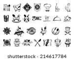 Food, restaurant and silverware icons, logo, emblems or symbols set with fork, spoon,  napkin, plate, knife, cook chef hat,  wine bottle, glass, cup, dish and teapot
