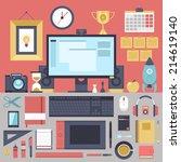 flat modern design vector... | Shutterstock .eps vector #214619140