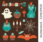 halloween set. vector... | Shutterstock .eps vector #214619410