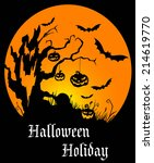 halloween holiday poster with... | Shutterstock .eps vector #214619770