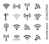 set of different black wifi... | Shutterstock .eps vector #214623964