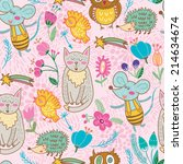 vector cute seamless pattern... | Shutterstock .eps vector #214634674