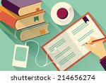 writing into notebook... | Shutterstock .eps vector #214656274