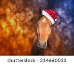 Red Horse In  Santa Hat On...