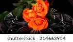rose floral arrangement... | Shutterstock . vector #214663954