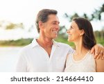 mature retired couple enjoying... | Shutterstock . vector #214664410
