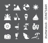 summer beach icon set  vector... | Shutterstock .eps vector #214671664