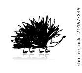 funny hedgehog  sketch for your ... | Shutterstock .eps vector #214677349