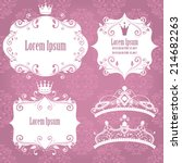 set of white floral frames with ... | Shutterstock .eps vector #214682263