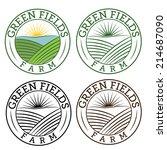 Set Of Emblems Green Fields Farm