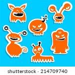 halloween monster silhouettes... | Shutterstock .eps vector #214709740