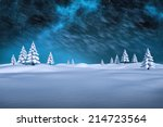 White Snowy Landscape With Fir...