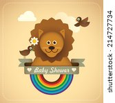 Baby shower illustration with comic lion. Vector illustration. - stock vector