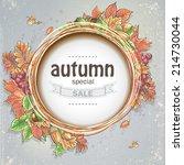 background for big autumn sale... | Shutterstock .eps vector #214730044