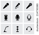 vector black microphone icons... | Shutterstock .eps vector #214730380