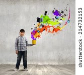 young boy splashing colorful... | Shutterstock . vector #214732153