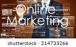 businessman writing online... | Shutterstock . vector #214733266