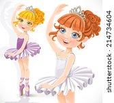 cute little ballerina girl in... | Shutterstock .eps vector #214734604