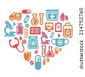 medical icons in heart shape | Shutterstock .eps vector #214752760