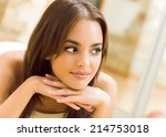 portrait of thinking woman... | Shutterstock . vector #214753018
