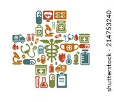 medical icons in cross shape | Shutterstock .eps vector #214753240