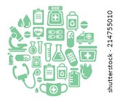 medical icons in circle shape   Shutterstock .eps vector #214755010