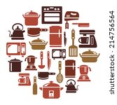 kitchen utensils and appliances ... | Shutterstock .eps vector #214756564