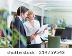 two business people talking... | Shutterstock . vector #214759543