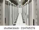 global data center walkway...   Shutterstock . vector #214765276