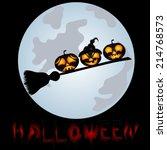 pumpkins on a sweeper  a...   Shutterstock . vector #214768573